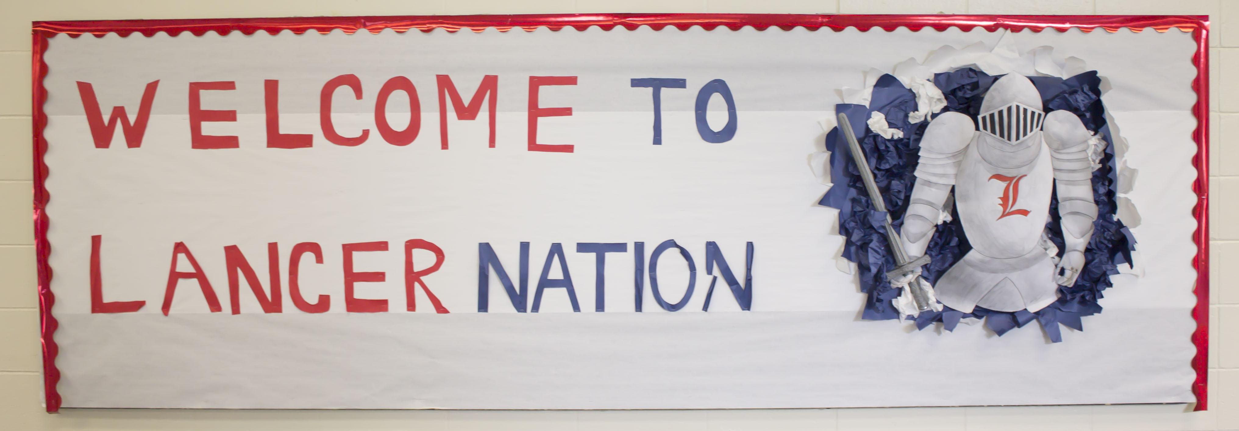 Returning students and incoming freshmen are welcomed to Londonderry High School with a unique bulletin board designed by Alesandra Bernadini. The Student Council board members constructed the board on Tuesday, August 25th.