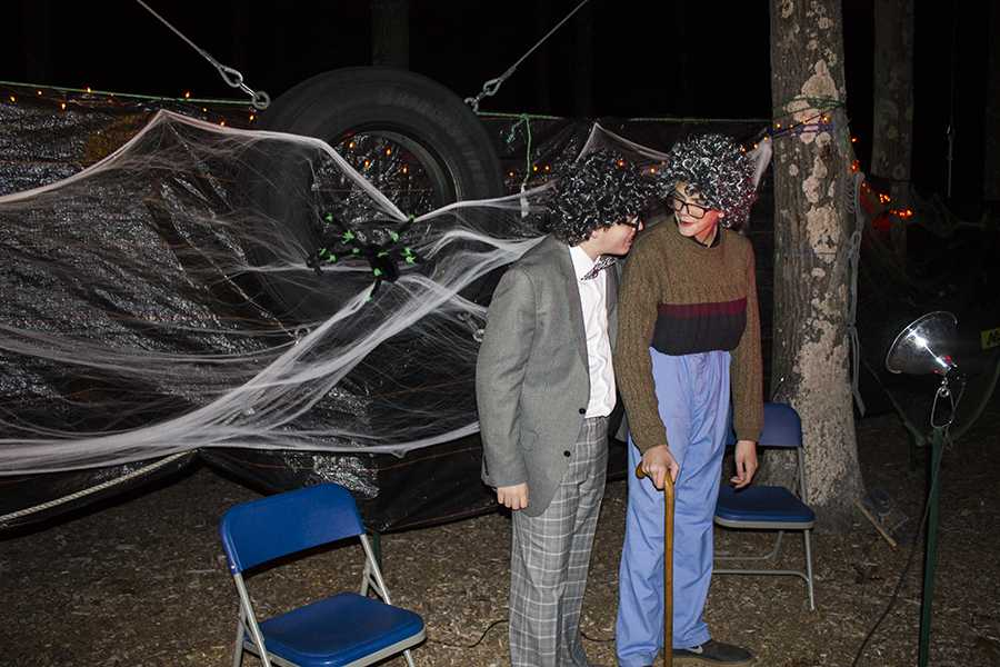 Last year, drama club members Brendan Schabhetl and Ben Dionne dressed up like a grandma and grandpa to entertain people while they waited in line for Haunted Woods.
