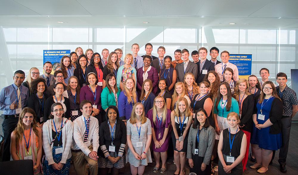 The 51 Free Spirit scholars who attended this year's conference pose for a photo with Gwen Ifill and Judy Woodruff of 'PBS NewsHour.' Conferences during the week took place in the Newseum, a museum dedicated to journalism and reporting in Washington, D.C.