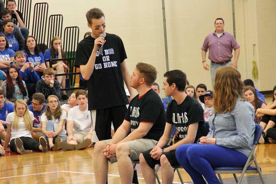During the spring pep rally, the Improv Club put on one of their interactive skits , an advice panel, and encouraged students to attend their show in May.