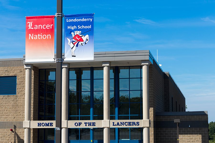 Banners+sporting+the+Londonderry+lancer+and+the+words+%22Lancer+Nation%22+were+donated+to+the+school+as+the+Class+of+2016%27s+class+gift.