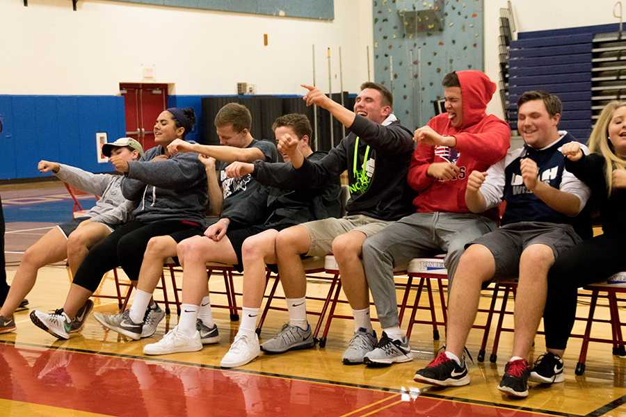 2017 seniors participate in the annual hypnotist show last year.