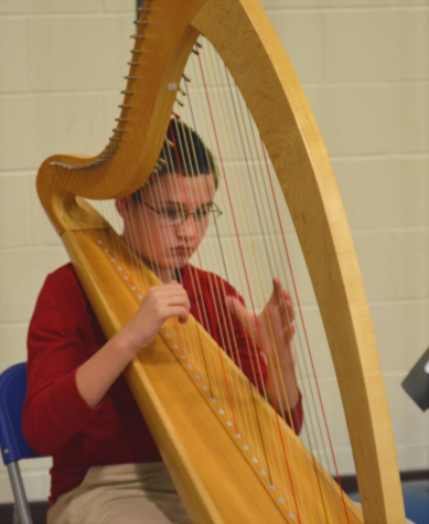 Freshman Liam McIntyre plays his harp, using music from the time period he was presenting.