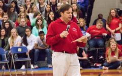 Pep rally advisor and English teacher Mr. Juster introduces the angels of  Pantene Beautiful Lengths in January of 2017