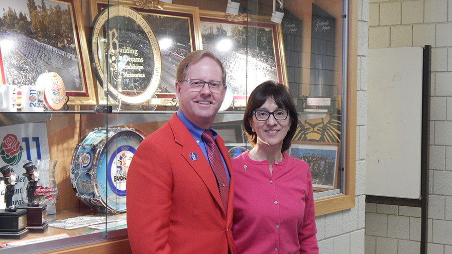 Tournament of Roses President Lance Tibbet and his wife Amelia visit the Marching Lancers.  The president will visit every band who will be marching in the 2018 parade.