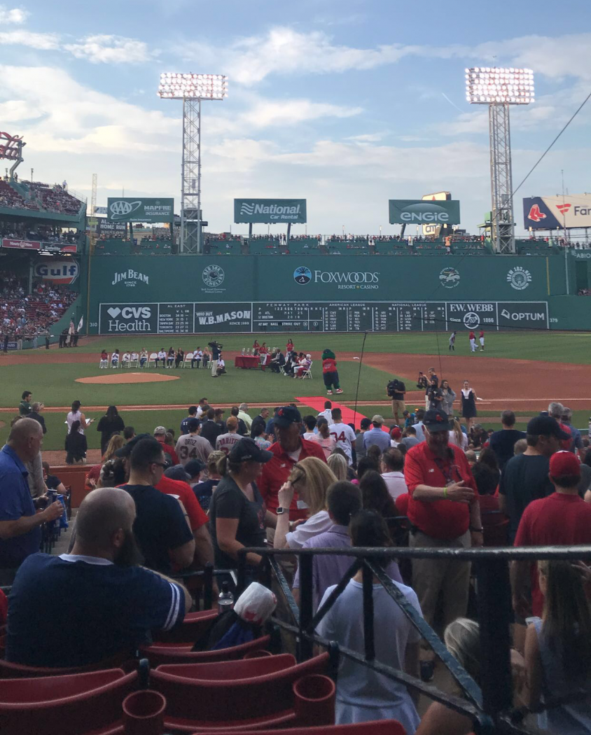 Fenway Park, home of the Red Sox, filling up before their game against the Atlanta Braves.
