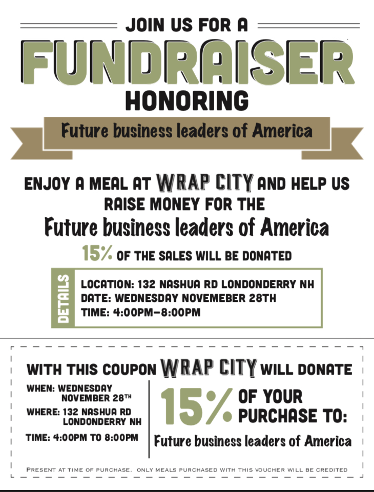 This flyer must be used for FBLA to receive the proceeds from your meal.