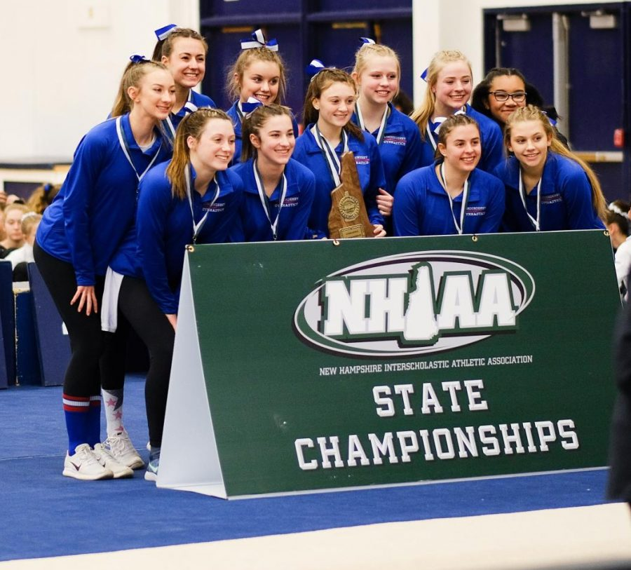 The+gymnastics+squad+earns+a+first+place+victory+at+the+NHIAA+tournament.