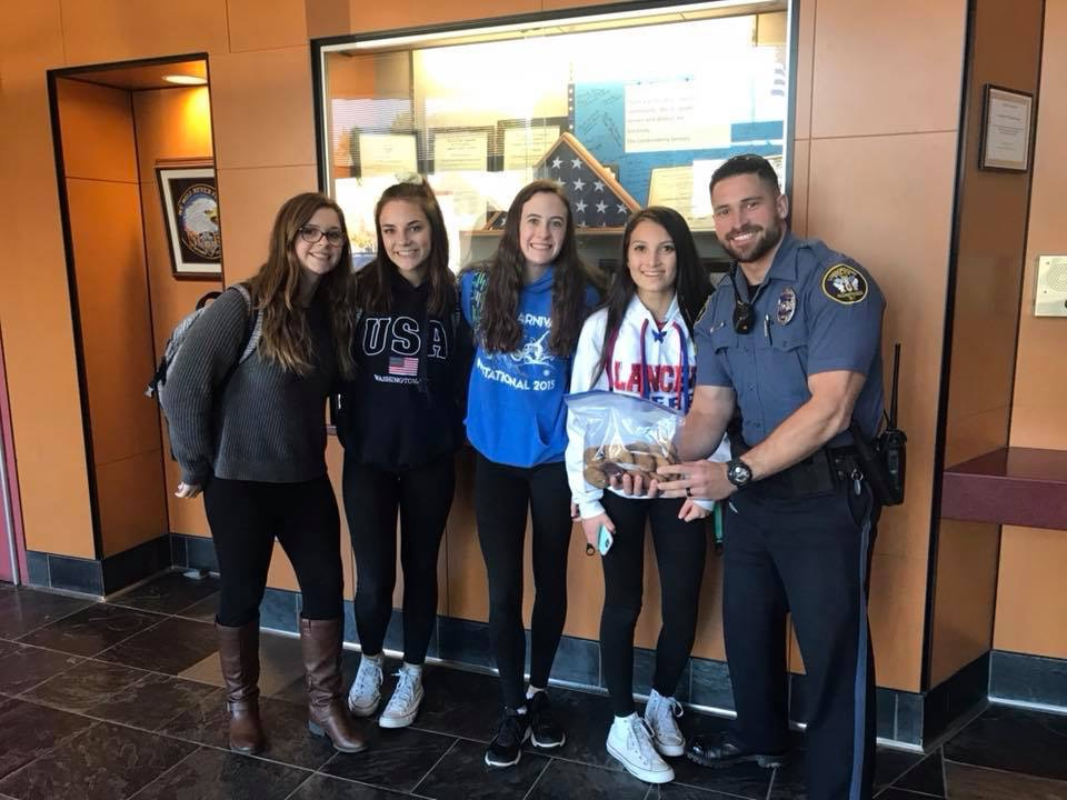 "Londonderry Lancer cheerleaders bring baked goods to the department to show gratitude and thankfulness to the officers. ""He was very excited to accept our cookies,"" Sophomore cheerleader Megan Goodwin said. ""You could tell he genuinely appreciated the gesture."""
