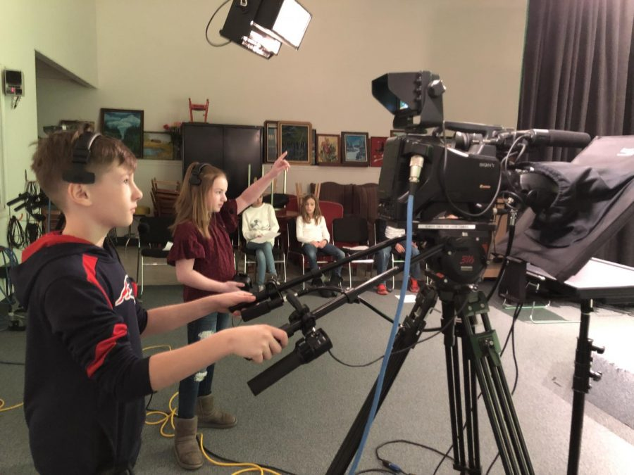Matthew Thornton students in Miss Juster's class get the chance to work behind and in front of cameras to produce their original newscasts.