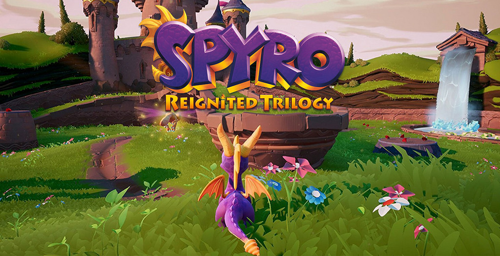 The menu screen shows the updated graphics and vibrant colors made in the Spyro Reignited Trilogy. All six of the worlds showcased the unique lighting and colors as well as the screen-grab.