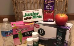 Pictured above are examples of items that one could use to ease period pain, such as candy and face masks.