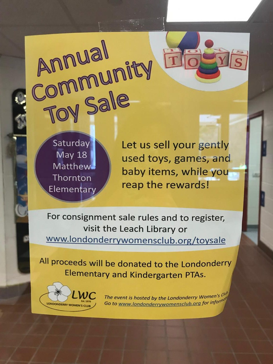 The Londonderry Women's Club is hosting their annual toy drive this Sat. May 18 at matthew Thornton