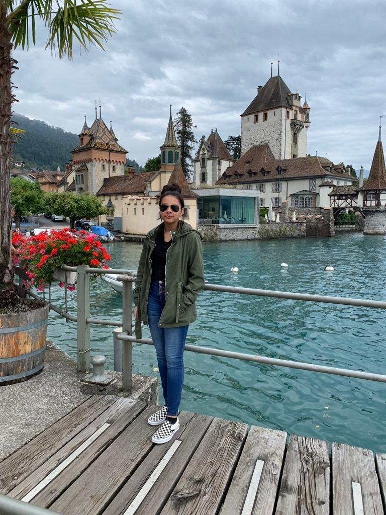 Class of 2023 President Alisha Khalil poses for a photo while she was in Switzerland this past summer.