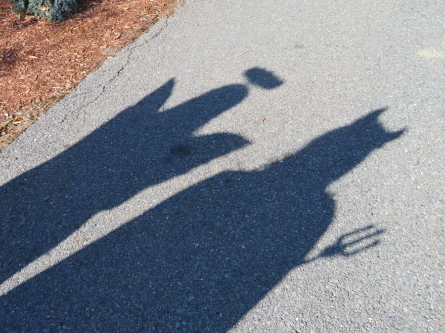 Seniors Hailey Mosher (left) and Marissa McKay (right) catch a glimpse of their goulish shadows across the pavement.