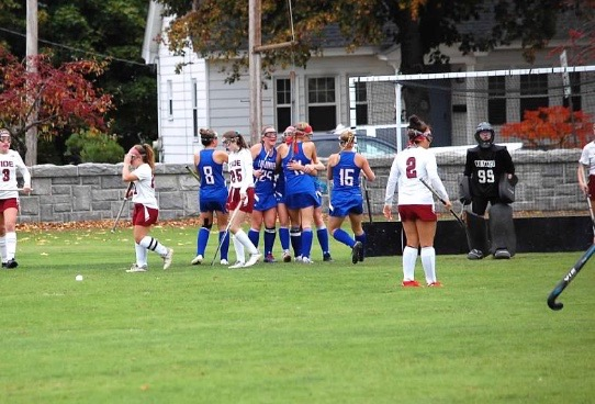 The girls embrace after scoring the game-winning goal against Concord. The two teams meet today in a playoff rematch.