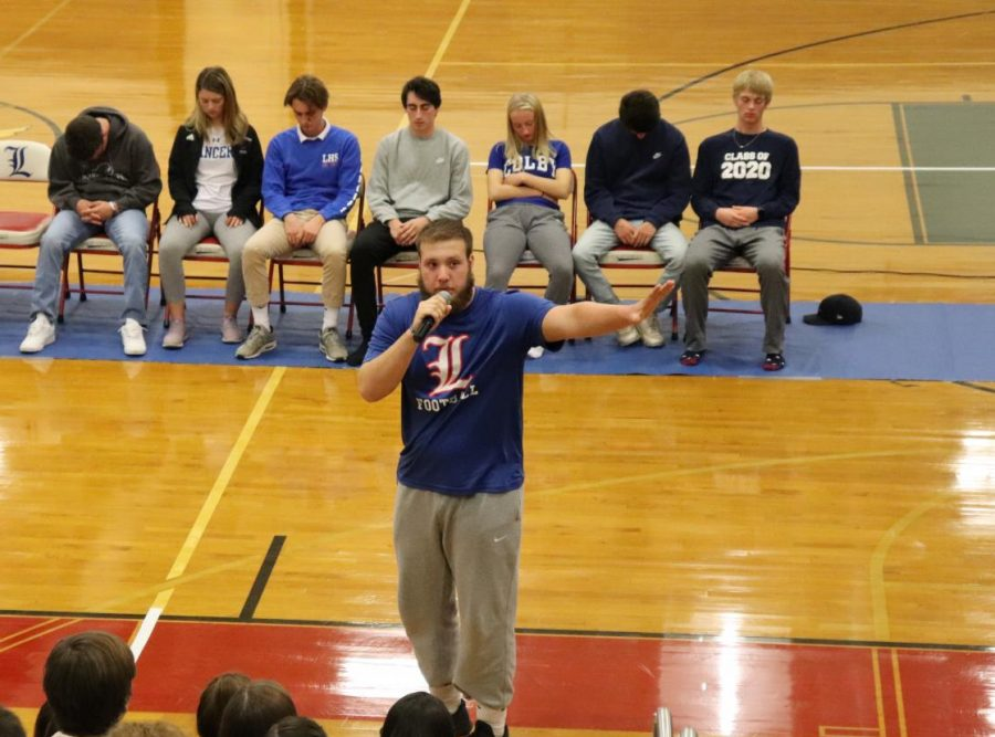 Senior Blaine Hopkins tells kids to