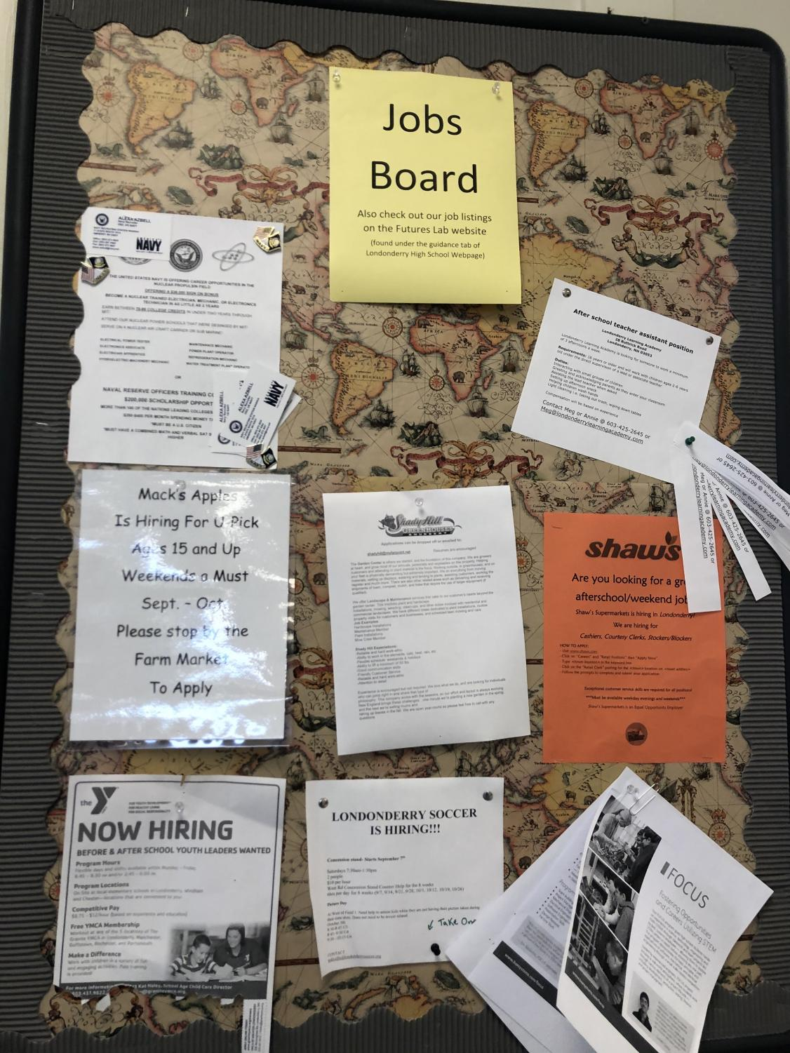 New jobs are constantly being posted to the right of the Futures Lab, so make sure to check for listings on the board as well as on the website!