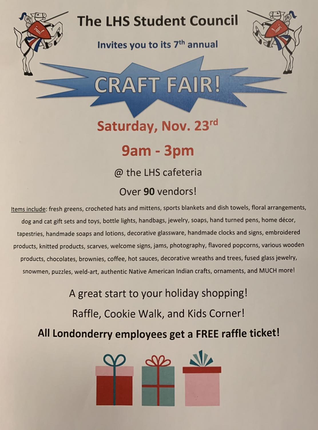 The LHS Student Council craft fair is a great place to start your holiday shopping!