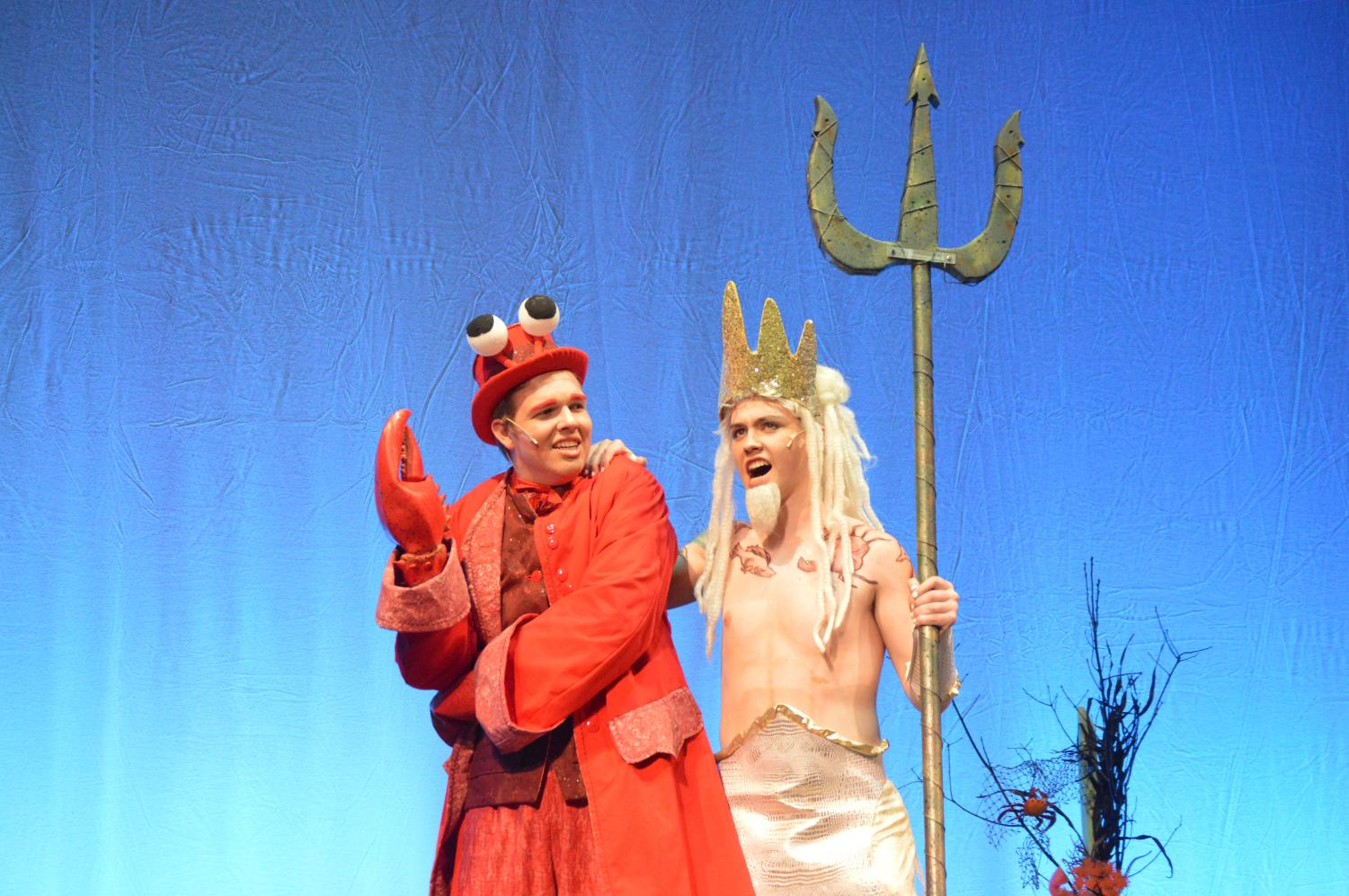 Two drama club members perform in their show of The Little Mermaid in April of 2018.