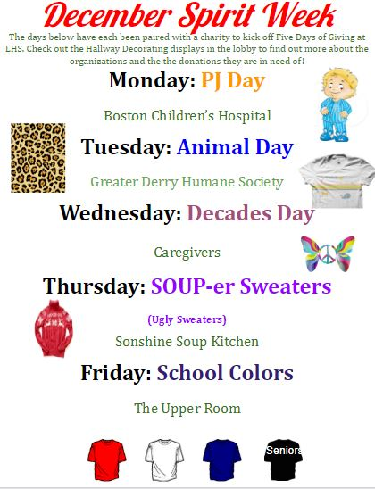 The Student Council held a vote and chose the spirit days shown above and paired each theme with a specific charity.