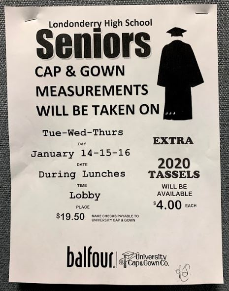 Attention seniors: cap and gown measurements to take place next week