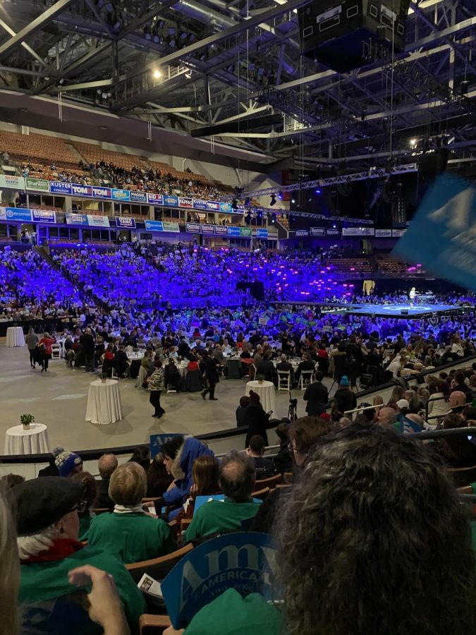View of the arena filling before the event began. There were sections for each presidential candidate speaking so their supporters could all be together.