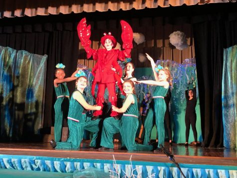 "Carter Blanco, who played Sebastian, takes his final pose after singing the iconic Disney showtune ""Under the Sea""."