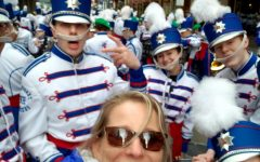 Gruchot takes a selfie with band students before the St.Patrick's Day Parade in New York.