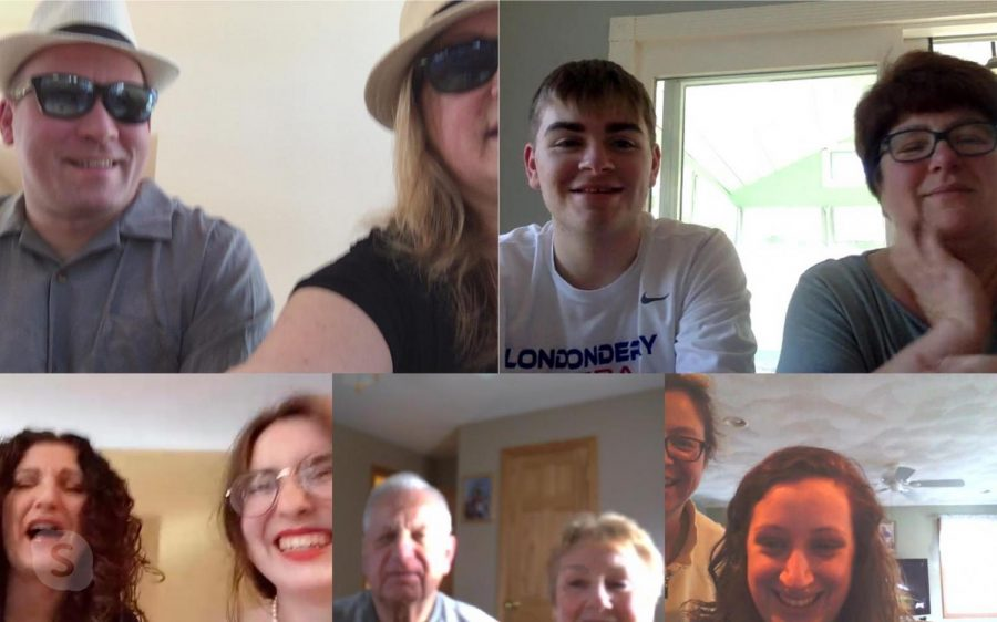 Executive Features Editor and Senior Sean Cavanaugh  joins family members in a group Skype call.