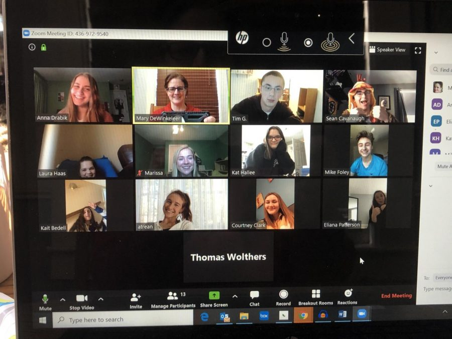 The Lancer Spirit staff learns remotely from home during a staff Zoom video chat session.