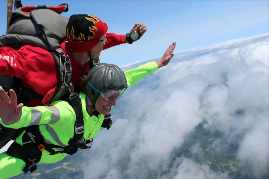 Karen Ruzicka enjoys sky diving over Pepperell in 2017.  Skydiving sees the diver drop approximately 200 feet per second.
