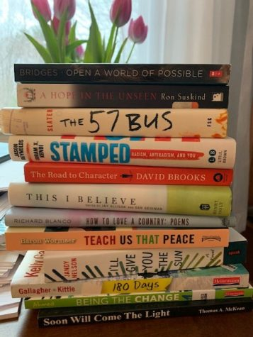 Create a book spine poem by stacking books, as shown here.