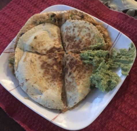 Dinner #1 entailed a sweet potato black bean quesadilla with homemade guacamole on the side.