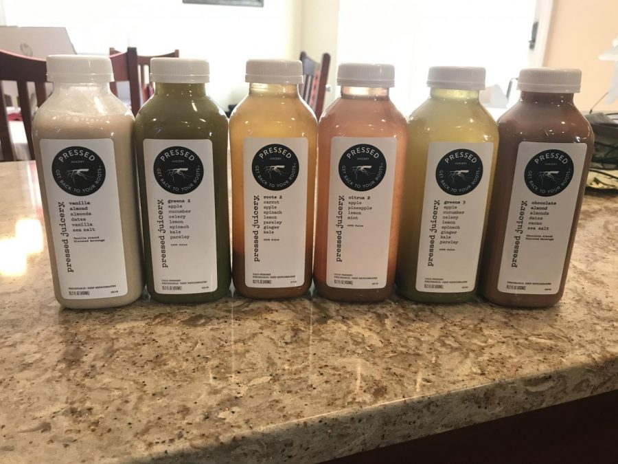 The cleanse included six juices, with a variety of flavors.