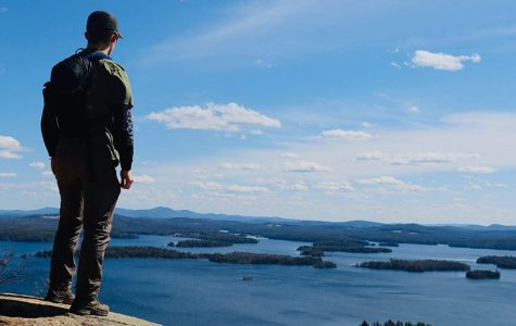 Junior Dylan Barnes appreciates view from on a mountain after hiking.