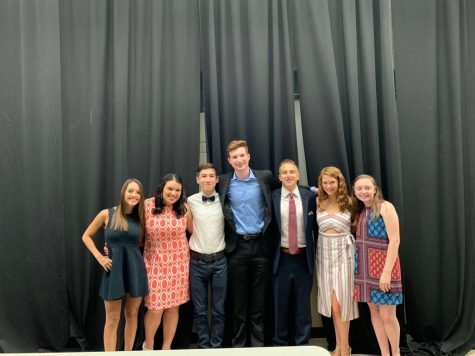The 2018-2019 Student Council Board poses for a photo at the 2019 Inductions Ceremony that takes place after elections.