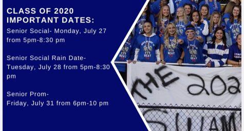 Class of 2020 important Senior Week dates.