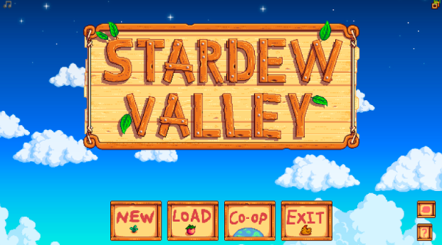 When you open up Stardew Valley, the menu opens up to the sky with options on what to do. Recently co-op was added so you could play with your friends and farm together!