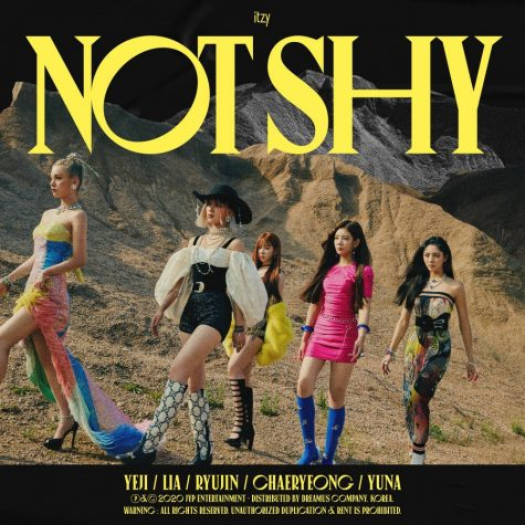 "ITZY pose for the cover artwork of ""Not Shy,"" their fourth comeback single and second EP. The single and EP were released Aug. 17, 2020, and the group"