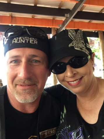 Nelson and her husband pose for a photo. One of their favorite hobbies is riding motorcycles with their friends and going out to eat afterwards.