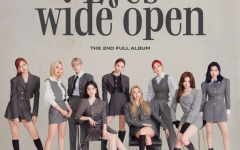 TWICE pose for the cover of 'Eyes wide open.' The top row, from left to right, is composed of Tzuyu, Chaeyoung, Jeongyeon, Nayeon, Jihyo and Momo. The bottom row, from left to right, is composed of Dahyun, Mina and Sana.