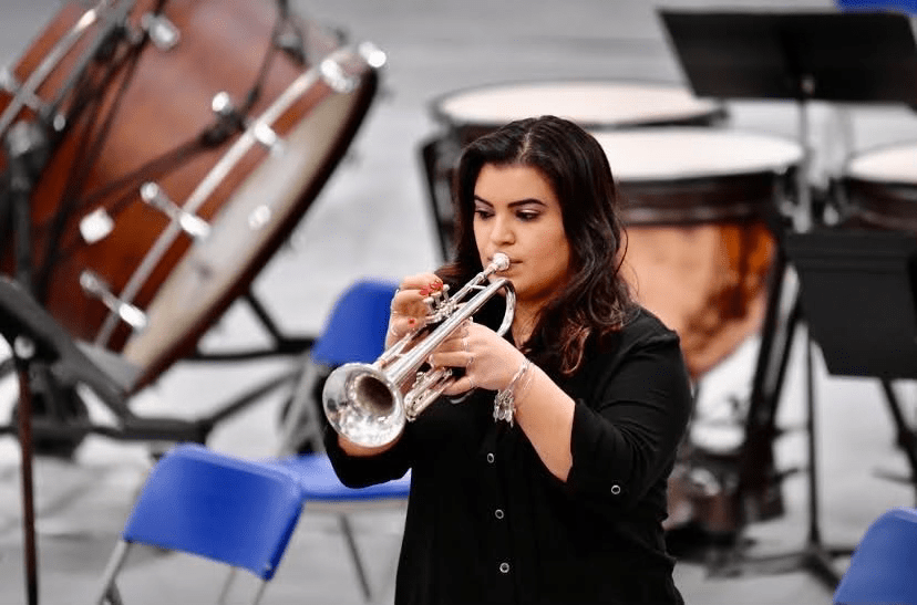 Senior Amara Cote,  performs at a jazz ensemble concert in January 2021. Cote plays the trumpet as part of the LHS jazz ensemble and is currently the main Trumpet Section Leader in band.