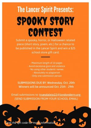 The 2021 Lancer Spirit Spooky Writing Contest is now accepting submissions until Oct. 20.