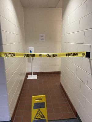The custodial staff has had to clean up excessive damage to the school bathrooms in addition to their everyday tasks
