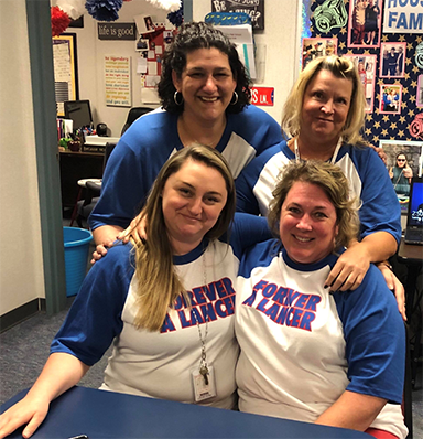 House 4 school counselors Mrs. Nelson (top left) and Mrs. Chase (bottom left) work together with Assistant Principal Ms. Sullivan (bottom right) and House 4 administrative assistant Mrs. Brown (top right).